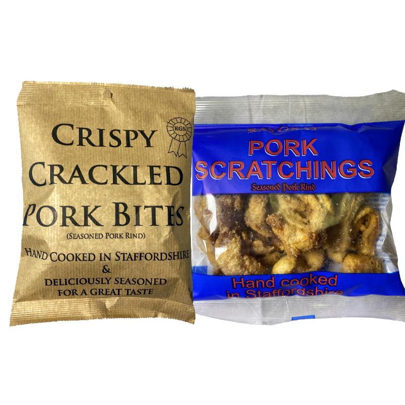 pork-scratchings-80g-and-40g-and-crispy-bites-original-65g-RayGray-Snacks-Rugeley-Staffordshire